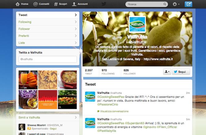 Come creare un profilo Twitter efficace per il branding? Valfrutta tra le best practice