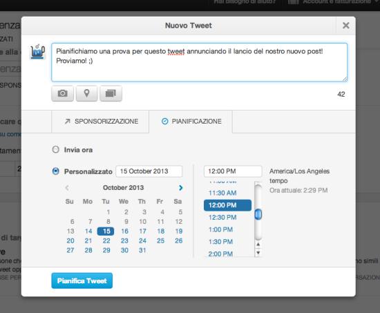 Scheda Scheduing tweets
