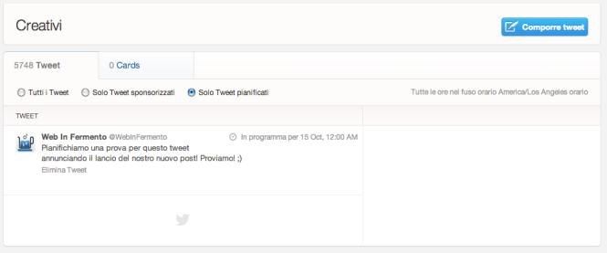 Tab solo tweet pianificati