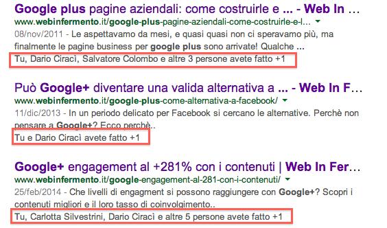 Segnali sociali Google