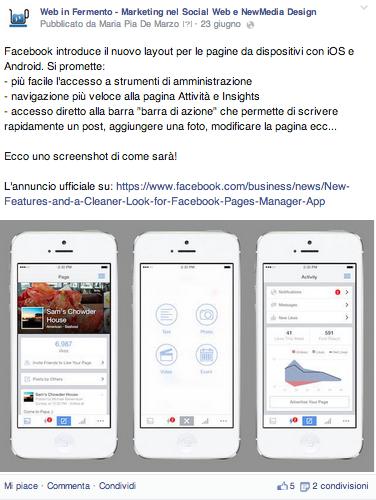 link nel testo facebook