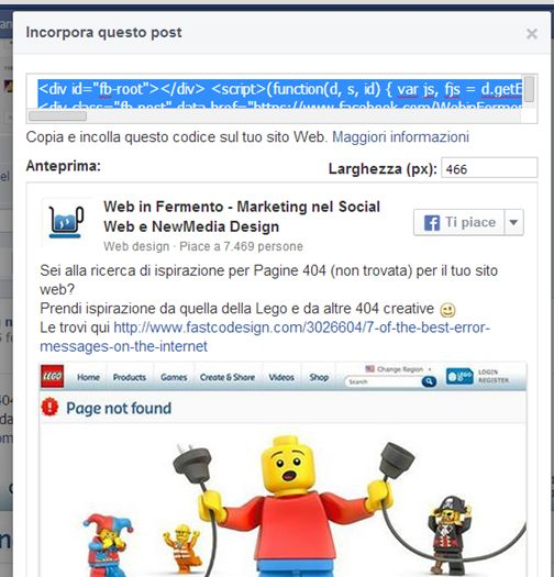incorporare post facebook