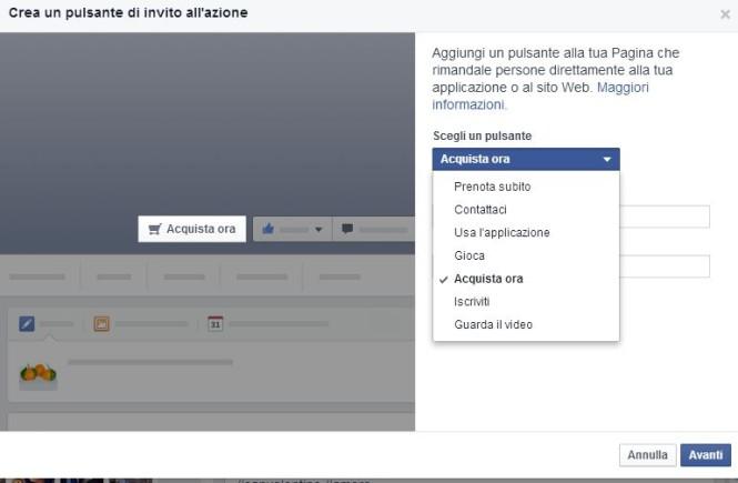 pulsante azione pagine facebook