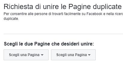 unire due pagine facebook