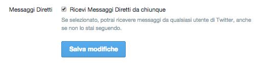 Settaggio DM twitter