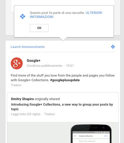 annuncio raccolte google+