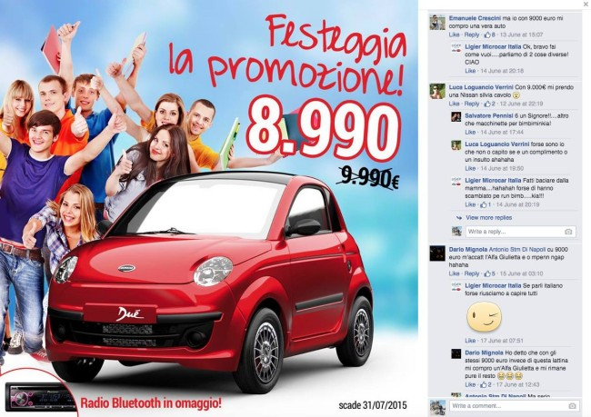 Screen di Social Media Epic Fail