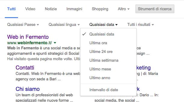 filtri avanzati Google