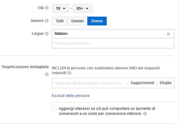Campagna Facebook senza targettizzazione dettagliata