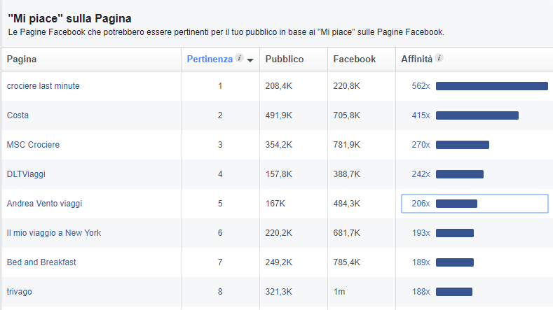 Facebook Audience Insights: like e affinità