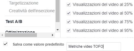 Salvare set di metriche per le campagne Facebook