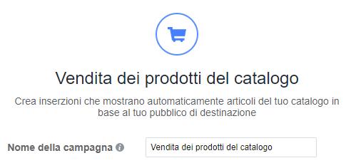 Vendita dei prodotti del catalogo in Facebook ads