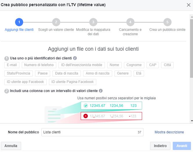 Creazione pubblico personalizzato su Facebook basato sui valori