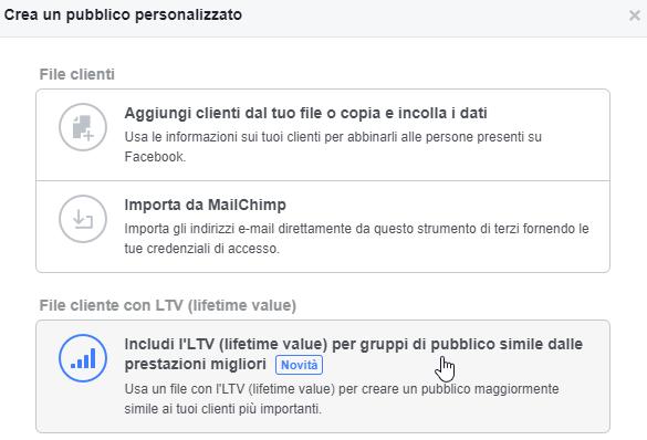 Creazione pubblico personalizzato LifeTime Value su Facebook