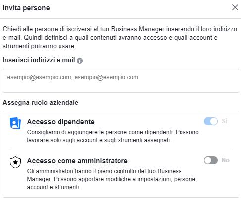Amministratore o dipendente del Business Manager di Facebook