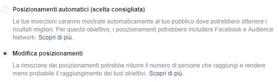Posizionamenti gruppo di inserzioni Facebook