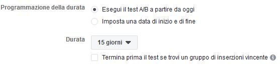 Durata A/B test su Facebook