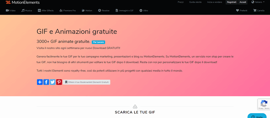 piattaforma a pagamento per gif